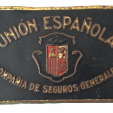 Carteles: ANTIGUA CHAPA DE PUBLICIDAD - UNIÓN ESPAÑOLA COMPAÑIA DE SEGUROS GENERALES - G. DE ANDREIS- BADALONA. Lote 179245703