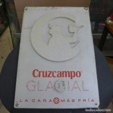 Carteles: PLACA METALICA PUBLICIDAD CRUZCAMPO GLACIAL LA CAÑA MAS FRIA. Lote 180041305