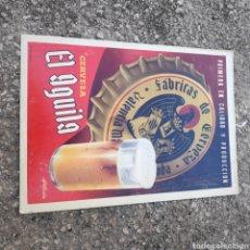 Cartazes: CARTEL CARTÓN ORIGINAL CERVEZA EL ÁGUILA 25 X 35 CM. Lote 180920927
