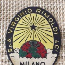 Carteles: PLACA CHAPA MÁQUINA DE COSER VIRGINIO RIMOLDI MILANO. Lote 180934741