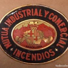 Carteles: CHAPA PLACA O CARTEL LITOGRAFIADO SEGUROS MUTUA INDUSTRIAL Y COMERCIAL BARCELONA INCENDIOS ANDREIS. Lote 181182625