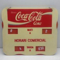Carteles: ROTULO DOBLE CARA - CARTEL HORARIO COMERCIAL PUBLICIDAD COCA COLA - EN CATALAN. Lote 181202101