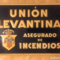 Carteles: ANTIGUA Y RARA CHAPA O PLACA O CARTEL DE SEGUROS INCENDIOS UNION LEVANTINA FABRICADA G. DE ANDREIS. Lote 181814745