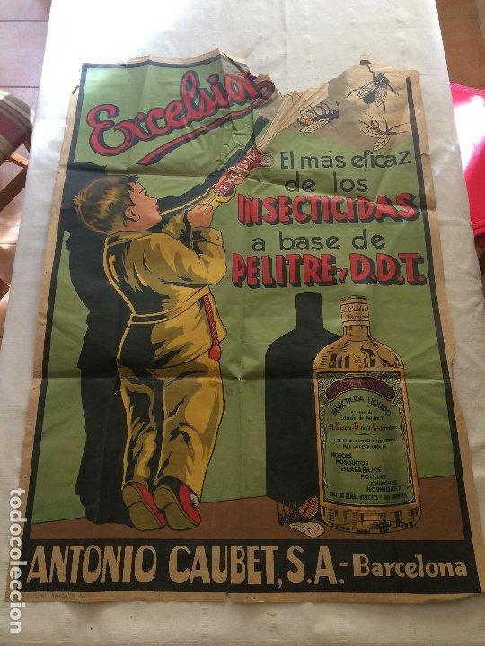 INSECTICIDA EXCELSIOR - AÑOS 30 - GRAN CARTEL DE PAPEL - MEDIDAS; 100 X 70 CMS. (Coleccionismo - Carteles y Chapas Esmaltadas y Litografiadas)