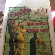 Carteles: INSECTICIDA EXCELSIOR - AÑOS 30 - GRAN CARTEL DE PAPEL - MEDIDAS; 100 X 70 CMS.. Lote 182687527
