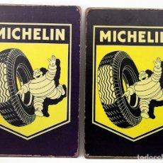 Carteles: DOS PLACAS / CHAPAS METALICAS - MICHELIN - REPRODUCCION. Lote 182738083