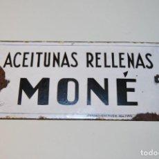 Carteles: CHAPA DE HIERRO ESMALTADO - ACEITUNAS RELLENAS MONÉ - GRABADOR DE MODA - MONTERA - AÑOS 20. Lote 184284383