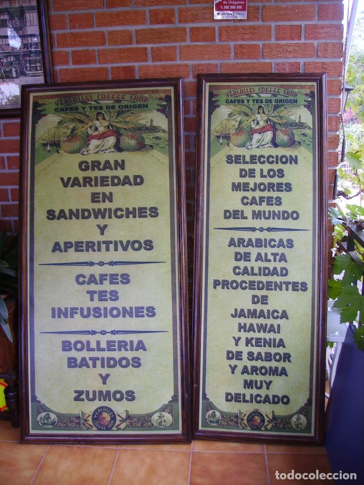 ANTIGUA PAREJA DE CARTELES PUBLICITARIOS ART NOUVEAU. CAFÉ COLONIAL. VERSALLES COFFEE SHOP (Coleccionismo - Carteles y Chapas Esmaltadas y Litografiadas)