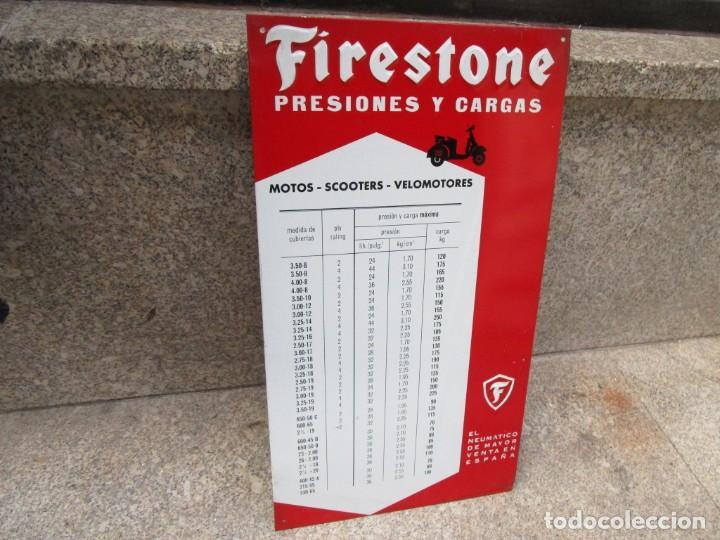 IMPECABLE CHAPA SERIGRAFIADA 60'S ' FIRESTONE ' MOTOS SCOOTERS ETC TABLA PRESIONES 43X24CM +INFO (Coleccionismo - Carteles y Chapas Esmaltadas y Litografiadas)