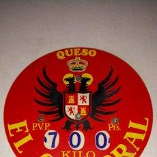 Carteles: PINCHO MARCA PRECIOS DE QUESO EL CIGARRAL. PVP EN PESETAS.. Lote 184825198