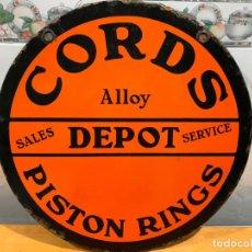 Carteles: CHAPA PUBLICITARA DE CORDS, PISTON RINGS, MADE IN ENGLAND 46 CMS. Lote 184873848