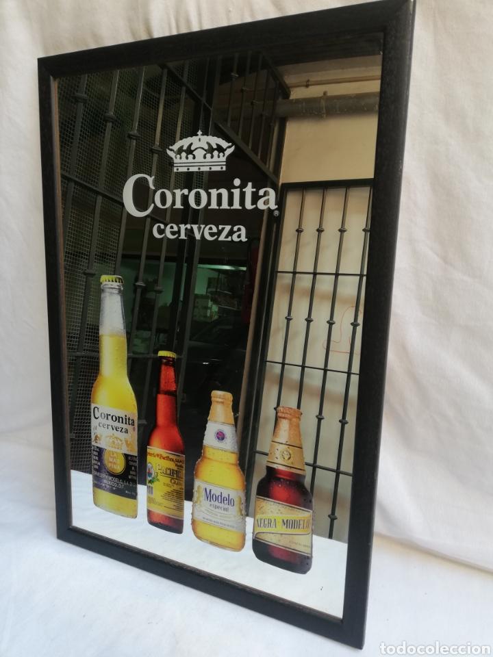 CUADRO ESPEJO PUBLICIDAD CERVEZA CORONITA. UNICO EN TC. (Coleccionismo - Carteles y Chapas Esmaltadas y Litografiadas)