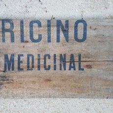 Carteles: CARTEL MADERA RICINO MEDICINAL ZXY. Lote 186419810