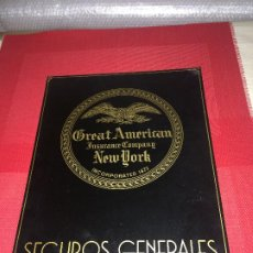 Affiches: GREAT AMERICAN INSURANCE COMPANY - NEW YORK - CARTEL CHAPA METÁLICA - MEDIDAS; 40 X 30 CMS.. Lote 187387540