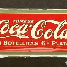 Carteles: PUBLICIDAD COCA-COLA - PLACA CHAPA METALICA 27X11,50 CM (NUEVA) REPRODUCCION METAL - COCACOLA USA. Lote 187425865