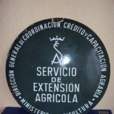 Carteles: (PUB-191269)PLACA ESMALTADA SERVICIO EXTENSION AGRICOLA. Lote 187587390