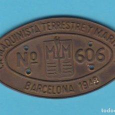 Carteles: LA MAQUINISTA TERRESTRE Y MARÍTIMA. Nº 606. BARCELONA, 1948. CHAPA METÁLICA FERROVIARIA. TREN. Lote 188576985