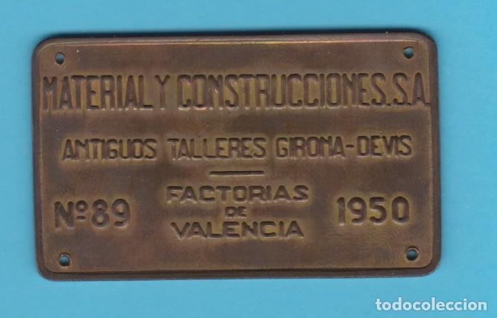 MACOSA. ANTIGUOS TALLERES GIRONA-DEVIS. VALENCIA. Nº 89. 1950. CHAPA METÁLICA FERROVIARIA. TREN (Coleccionismo - Carteles y Chapas Esmaltadas y Litografiadas)
