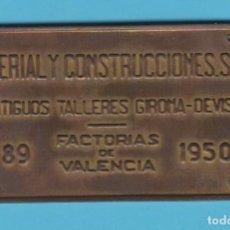Carteles: MACOSA. ANTIGUOS TALLERES GIRONA-DEVIS. VALENCIA. Nº 89. 1950. CHAPA METÁLICA FERROVIARIA. TREN. Lote 188579568