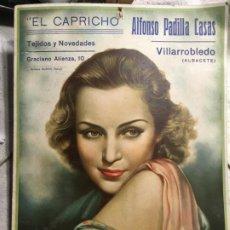 Carteles: ALBACETE, VILLARROBLEDO, CARTEL TEJIDOS Y NOVEDADES EL CAPRICHO, ALFONSO PADILLA. 24 X 34 CMS.VILR. Lote 189103960