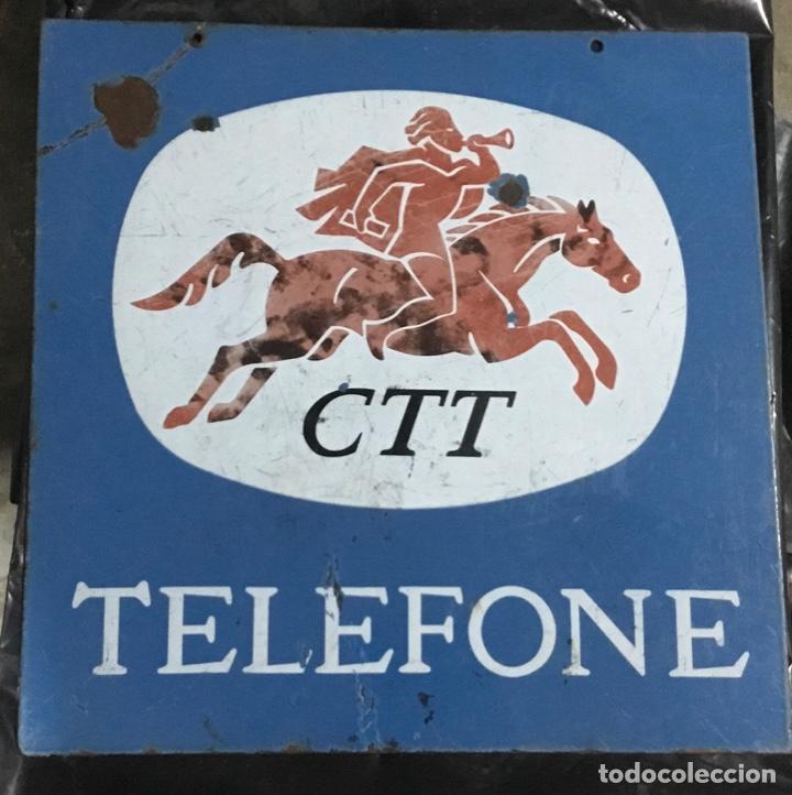 ANTIGUO CARTEL O PLACA ESMALTADA TELEFONE, COMPAÑÍA TELEFÓNICA PORTUGAL (Coleccionismo - Carteles y Chapas Esmaltadas y Litografiadas)