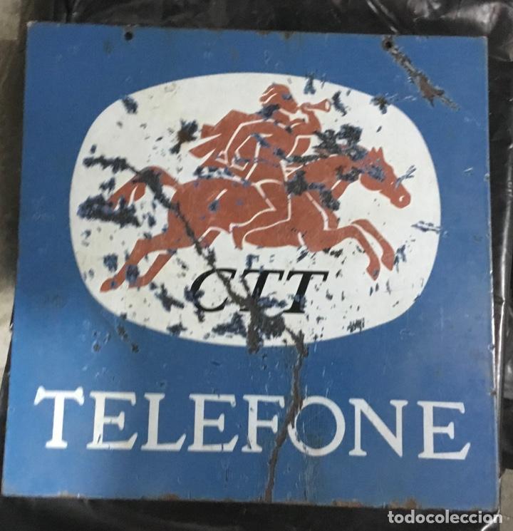 Carteles: Antiguo cartel o placa esmaltada TELEFONE, compañía telefónica Portugal - Foto 2 - 189331646