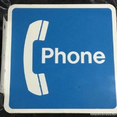Carteles: ANTIGUO CARTEL TELEFÓNICO ESMALTADO AMERICANO, PHONE, A DOBLE CARA. Lote 189332127