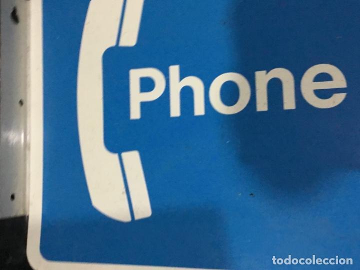 Carteles: Antiguo cartel telefónico esmaltado americano, PHONE, a doble cara - Foto 2 - 189332127