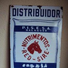 Carteles: (PUB-191256)CHAPA LITOGRAFIADA DISTRIBUIDOR - NUTRIMIENTOS - RED - SIRE - BALAGUER - LLEIDA. Lote 189488351