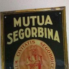 Carteles: CHAPA PUBLICIDAD.MUTUA SEGORBINA,INCENDIOS .20X29. Lote 189956503