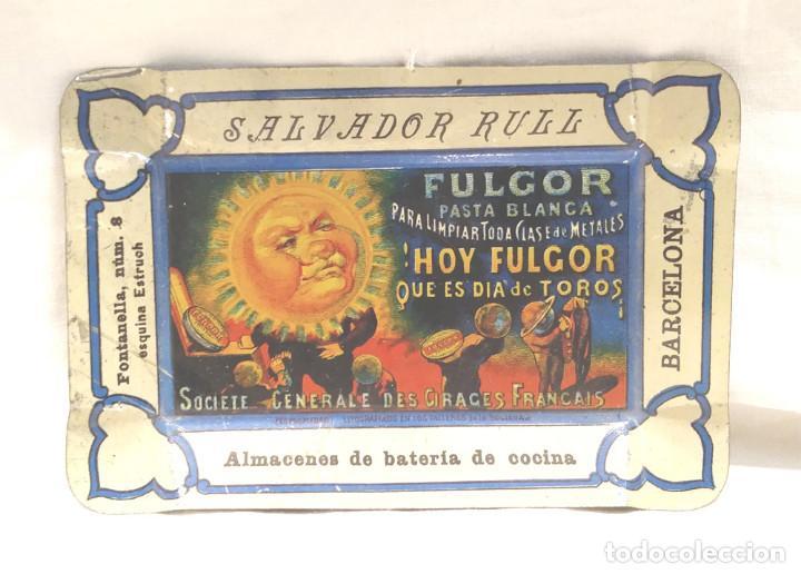 CENICERO CHAPA PUBLICIDAD DE SALVADOR RULL. FULGOR BCN. MED 13 X 9 CM (Coleccionismo - Carteles y Chapas Esmaltadas y Litografiadas)