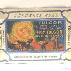 Carteles: CENICERO CHAPA PUBLICIDAD DE SALVADOR RULL. FULGOR BCN. MED 13 X 9 CM. Lote 190138068