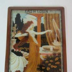 Carteles: CARTEL DE PERFUME, COLONIA - EAU DE LUBIN, LA REINA DES EAUX DE TOILETTE - CRISTAL PINTADO A MANO. Lote 190233473