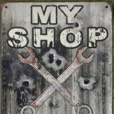Carteles: CARTEL DE METAL MY SHOP MY RULES. Lote 190703482