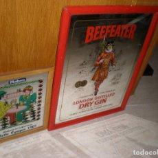 Affissi: MAHOU Y BEEFEATER,ESPEJO PUBLICIDAD,43,5 X 33,5 CMS Y MAHOU 26 X 21 CMS. Lote 191211816