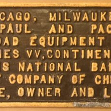 Carteles: CARTEL HIERRO COLADO FERROCARRIL VINTAGE RAILROAD PLAQUE CHICAGO MILWAUKEE ILLINOIS NATIONAL BANK. Lote 191974566