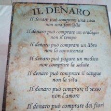 Carteles: 129-ANTIGUO CARTEL CHAPA LITOGRAFIADA DE IMPORTACION ITALIANA. Lote 192342987