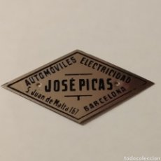 Carteles: CHAPA DE FABRICANTE JOSÉ PICAS AÑOS 40 - 50 AUTOMÓVILES, ELECTRICIDAD. BARCELONA. ¡ÚNICA!. Lote 192725092