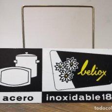Carteles: SOPORTE PUBLICITARIO DE ACERO INOXIDABLE BELIOX. Lote 192992490