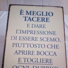 Carteles: 127-ANTIGUO CARTEL CHAPA LITOGRAFIADA DE IMPORTACION ITALIANA. Lote 193399886