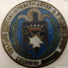Carteles: COLEGIO OFICIAL PRACTICANTES ATS DE MADRID. COLEGIADO. AUTÉNTICA Y ANTIGUA. Lote 193454010