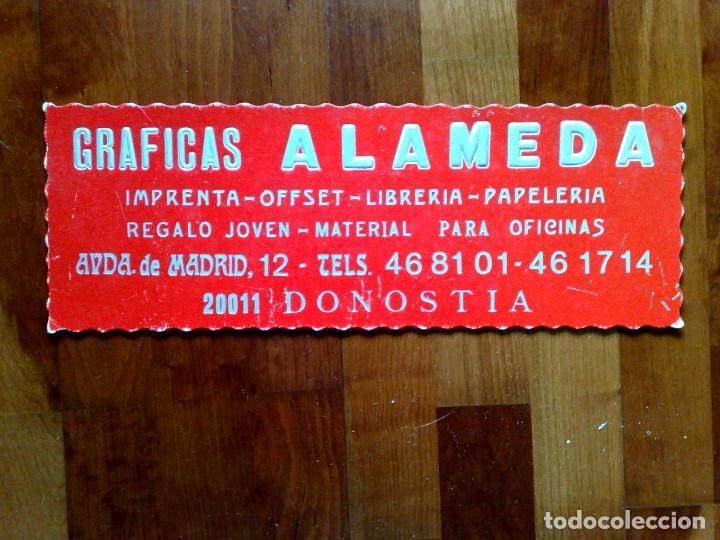 CARTEL GRAFICAS ALAMEDA,DONOSTIA (44CM. X 15,5CM.) DESCRIPCIÓN (Coleccionismo - Carteles y Chapas Esmaltadas y Litografiadas)