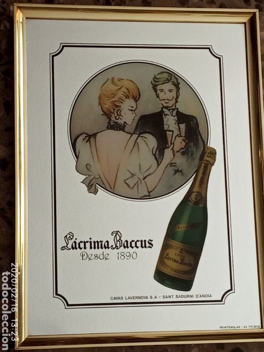 CUADRO ESPEJO LAGRIMA BACCUS CAVAS LAVERNOYA SANT SADURNI D'ANOIA (Coleccionismo - Carteles y Chapas Esmaltadas y Litografiadas)