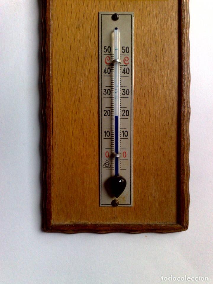 Carteles: ANTIGUO TERMÓMETRO SOBRE PLAFÓN DE MADERA (17,5cm. x 6,5cm.) DESCRIPCIÓN - Foto 3 - 194223558