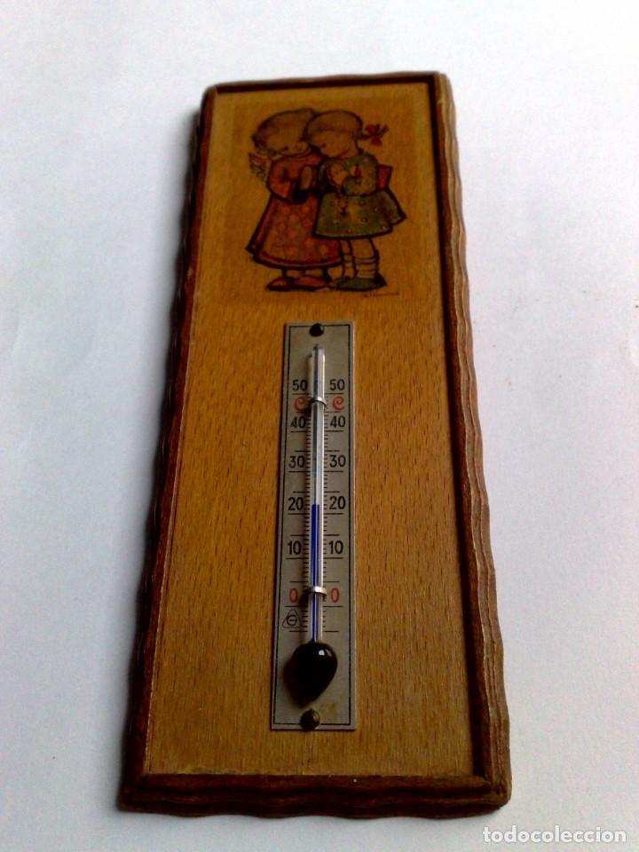 Carteles: ANTIGUO TERMÓMETRO SOBRE PLAFÓN DE MADERA (17,5cm. x 6,5cm.) DESCRIPCIÓN - Foto 4 - 194223558