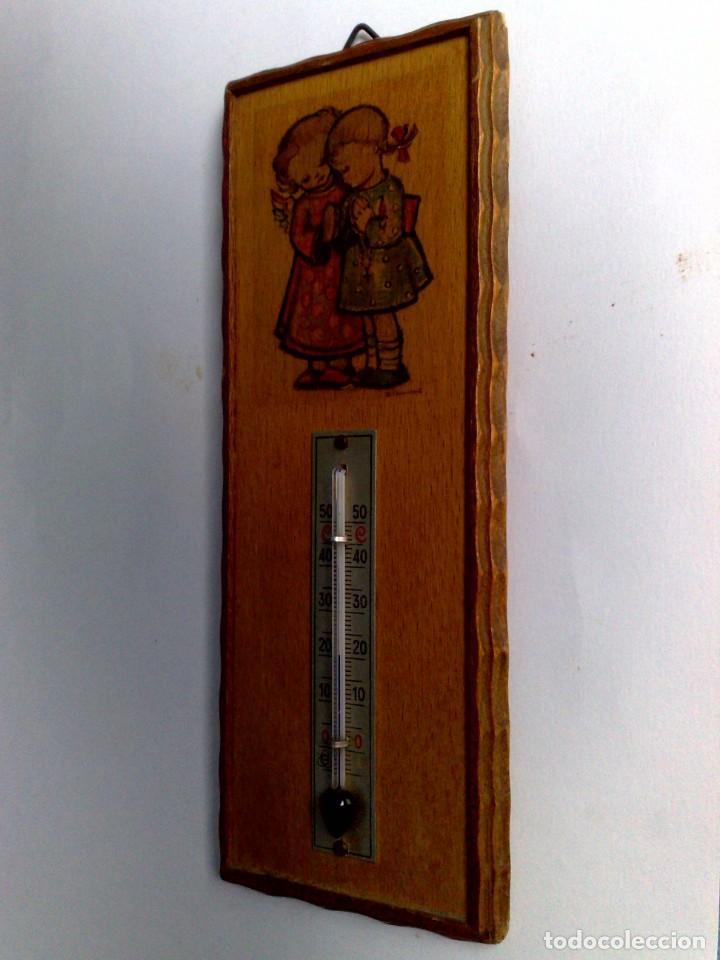 Carteles: ANTIGUO TERMÓMETRO SOBRE PLAFÓN DE MADERA (17,5cm. x 6,5cm.) DESCRIPCIÓN - Foto 5 - 194223558