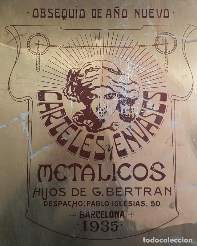 Carteles: CARTEL CHAPA LA FRAGUA DE VULCANO OBSEQUIO DE CARTELES Y ENVASES METALICOS HIJOS DE G.BERTRAN 1935 - Foto 3 - 194287925