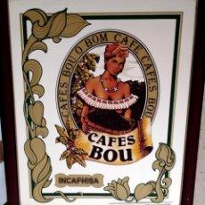 Carteles: ESPEJO CAFES BOU AÑOS 1970 ENMARCADOR J. ARAQUE 45X55 CM.. Lote 194291542