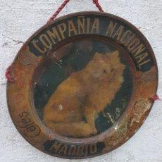 Carteles: ANTIGUO CARTEL CHAPA CAFES CHOCOLATE CAFETO MADRID GATO. Lote 194320861
