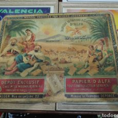 Carteles: ANTIGUO CARTEL CARTON PAPEL DE FUMAR PAPIER CIGARETTES D'ALFA ALGER. Lote 194372307